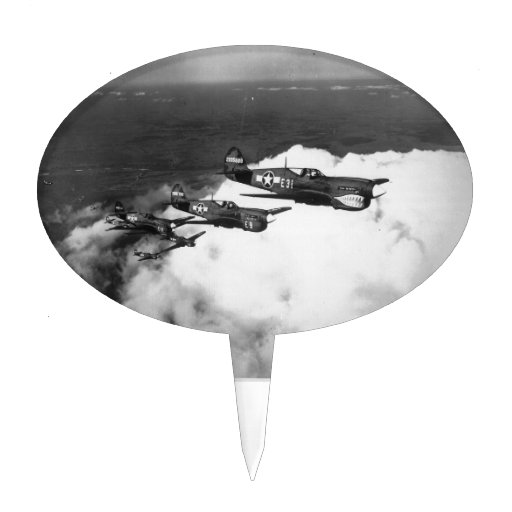 Negro Pilots in Shark-Nosed P-40 Fighter Aircraft Cake Toppers