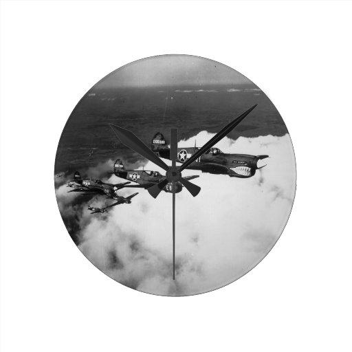 Negro Pilots in Shark-Nosed P-40 Fighter Aircraft Wallclocks
