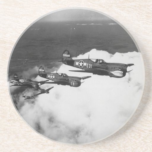 Negro Pilots in Shark-Nosed P-40 Fighter Aircraft Coasters