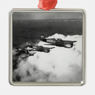 Negro Pilots in Shark-Nosed P-40 Fighter Aircraft Christmas Ornaments
