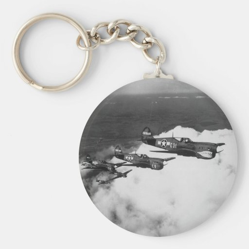 Negro Pilots in Shark-Nosed P-40 Fighter Aircraft Keychains