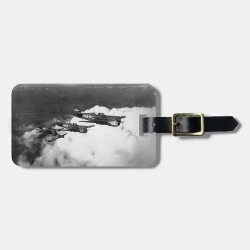 Negro Pilots in Shark-Nosed P-40 Fighter Aircraft Travel Bag Tag