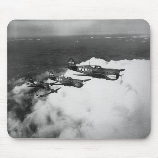 Negro Pilots in Shark-Nosed P-40 Fighter Aircraft Mousepads