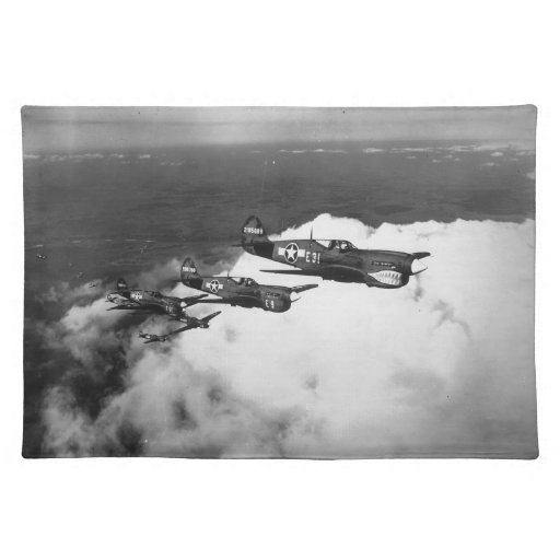 Negro Pilots in Shark-Nosed P-40 Fighter Aircraft Place Mat
