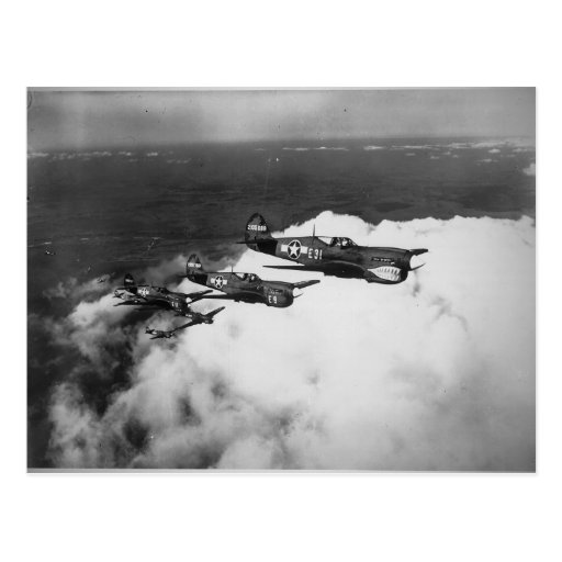 Negro Pilots in Shark-Nosed P-40 Fighter Aircraft Postcards
