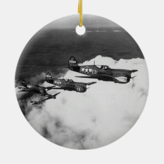 Negro Pilots in Shark-Nosed P-40 Fighter Aircraft Round Ceramic Decoration