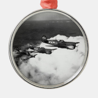Negro Pilots in Shark-Nosed P-40 Fighter Aircraft Silver-Colored Round Decoration