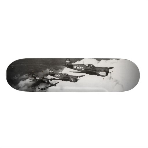 Negro Pilots in Shark-Nosed P-40 Fighter Aircraft Skate Board Decks