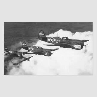 Negro Pilots in Shark-Nosed P-40 Fighter Aircraft Rectangle Sticker
