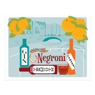 Negroni Citrus Cocktail Postcard