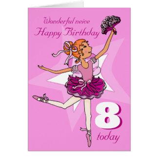 Neice ballerina birthday pink purple age card