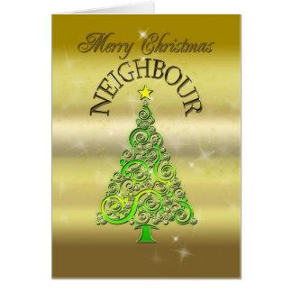 Neighbour, a gold effect Christmas card