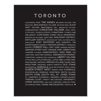 Neighbourhoods of Toronto Poster - black and white