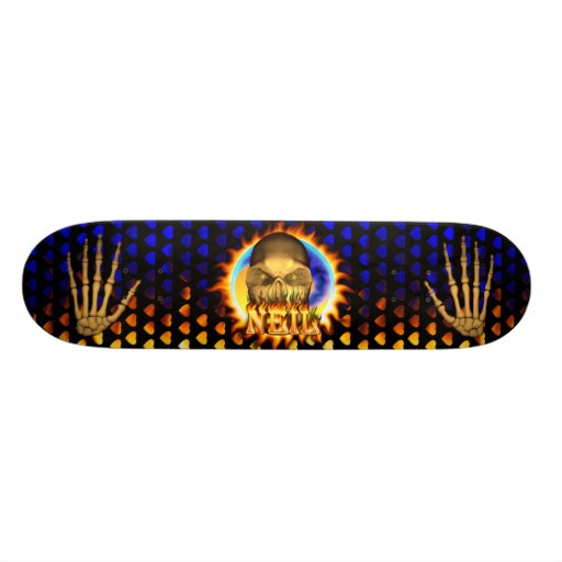 Neil skull real fire and flames skateboard design