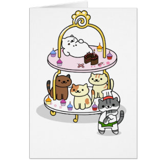 Neko Atsume - Cake Stand Party - Blank Card