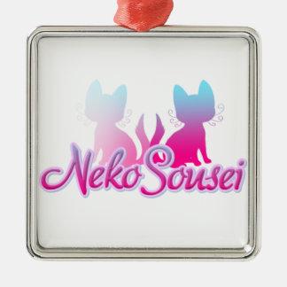 Neko Sousei Logo Silver-Colored Square Decoration
