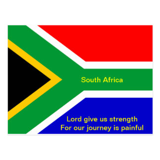 Nelson mandela south africa flag post card