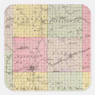 Nemaha County, Wetmore and Corning, Kansas Square Sticker