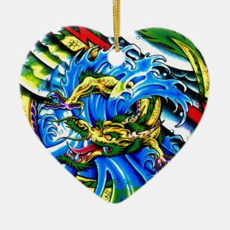 Neo Jap Dragon Tattoo Ceramic Heart Decoration