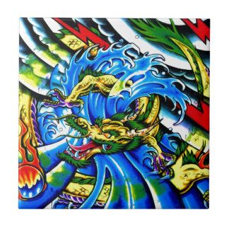 Neo Jap Dragon Tattoo Small Square Tile