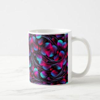 Neon Abstract Hot Pink Turquoise Black Modern Basic White Mug