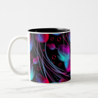 Neon Abstract Hot Pink Turquoise Black Modern Two-Tone Mug
