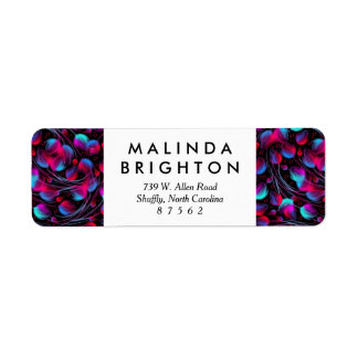 Neon Abstract Hot Pink Turquoise Black Modern Return Address Label