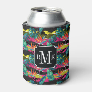 Neon Abstract Tropical Texture Pattern Can Cooler