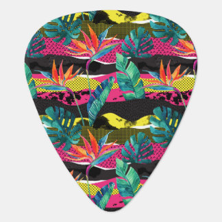 Neon Abstract Tropical Texture Pattern Plectrum