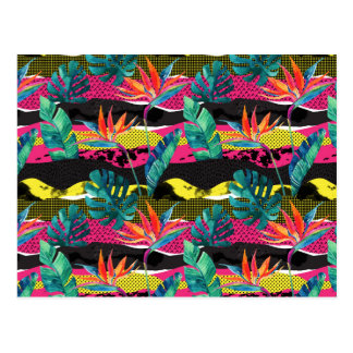 Neon Abstract Tropical Texture Pattern Postcard