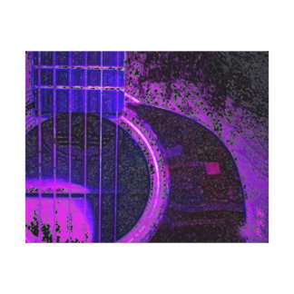 Neon Acoustic Guitar Gallery Wrapped Canvas