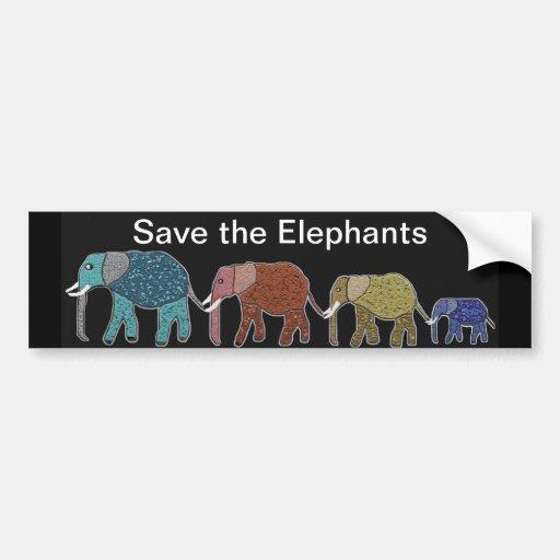 Neon African Elephant Walk Bumper Stickers