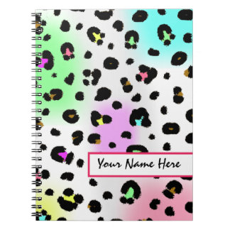Neon Airbrush Leopard Print Notebook