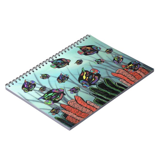 Neon Angelfish Coral Reef Spiral Notebooks