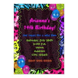 Neon Animal Print Cheetah leopard Zebra Party 13 Cm X 18 Cm Invitation Card