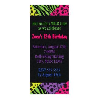 Neon Animal Print Colorful Zebra Leopard Party 10 Cm X 24 Cm Invitation Card