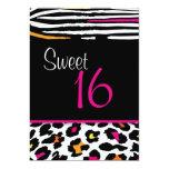 Neon Animal Print Sweet 16 Invitation