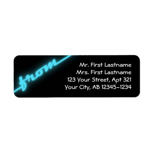 Neon Aqua Blue & Black Return Address Labels