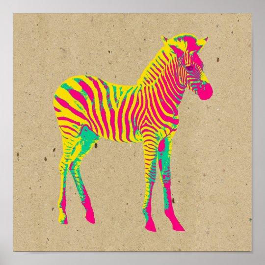 Neon Baby Zebra Psychedelic Pink Yellow & Green