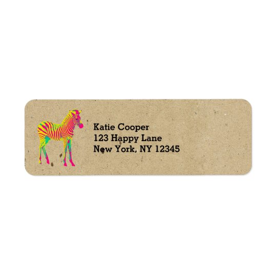 Neon Baby Zebra Psychedelic Pink Yellow & Green Return Address Label