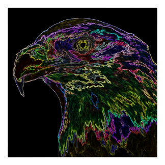 Neon Bald Eagle 2 Posters