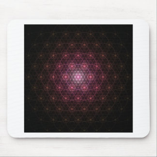 Neon Black Flower of Life Mouse Mat