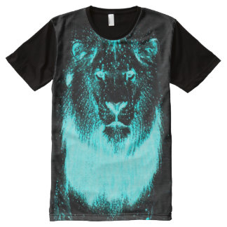 Neon Blacklight Glow In The Dark Wild Lion All-Over Print T-Shirt