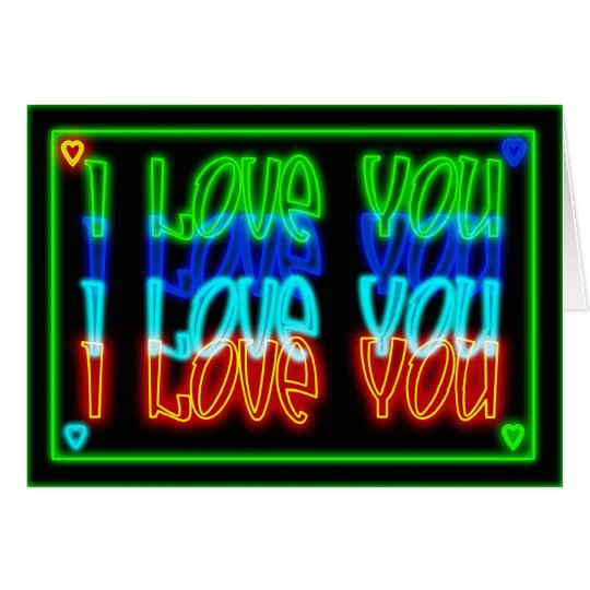 Neon blank I love You valentine's day card or love