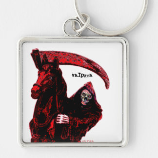 Neon Blood Grim Reaper Horseman Series by Valpyra Silver-Colored Square Key Ring