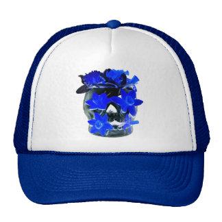 Neon Blue and Black Daffodil Skull Cap
