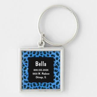 Neon Blue And Black Leopard Fur Pet ID Tag Key Ring