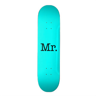 Neon Blue and Black Mr. Wedding Anniversary Quote 20.6 Cm Skateboard Deck
