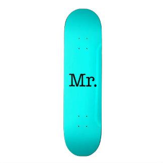 Neon Blue and Black Mr. Wedding Anniversary Quote 20.6 Cm Skateboard Deck
