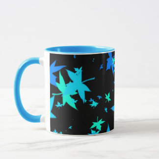 Neon Blue and Green Leaves Coffee Mug